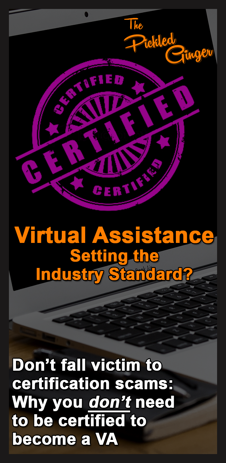 Virtual Assistance - Setting the Industry Standard? | The Pickled Ginger - Don't let people get away with telling you that you need certification to do home-based admin work.  They're wrong!  Here's why.