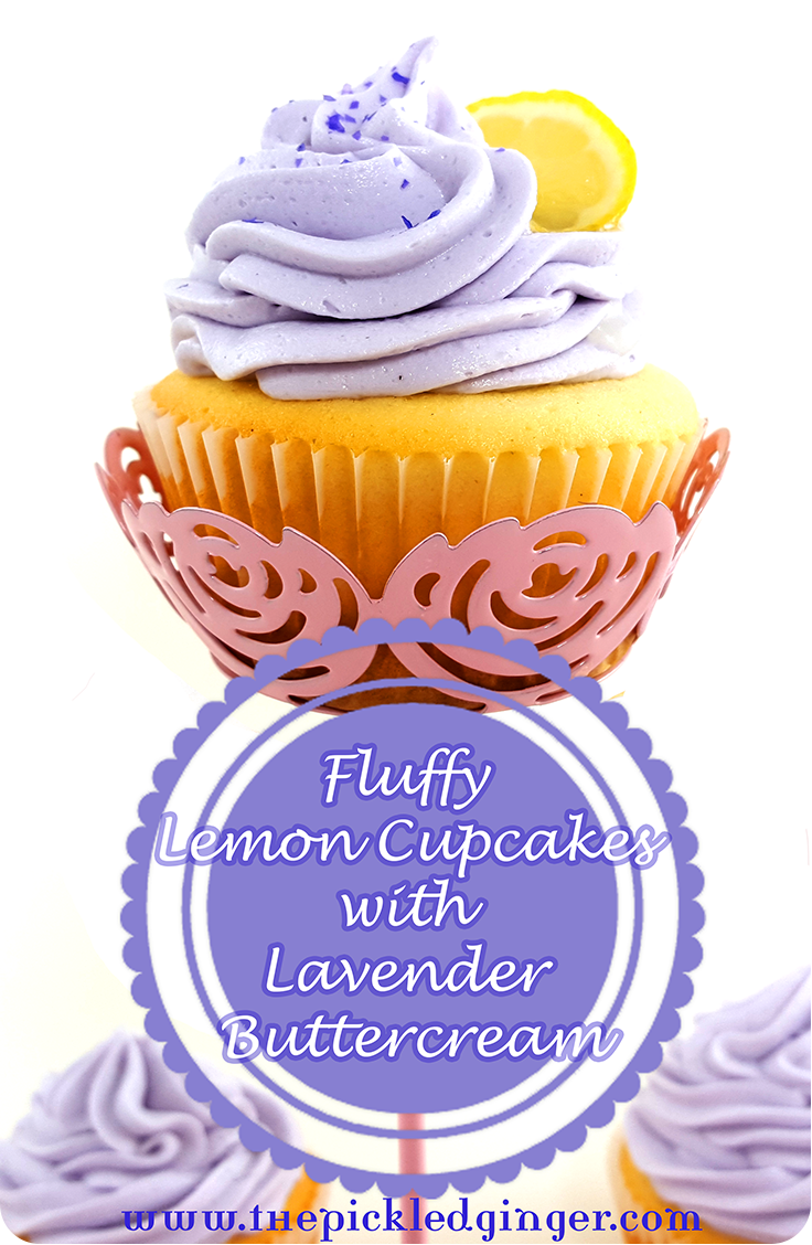 Fluffy Moist Lemon Cupcakes with Lavender Buttercream Icing