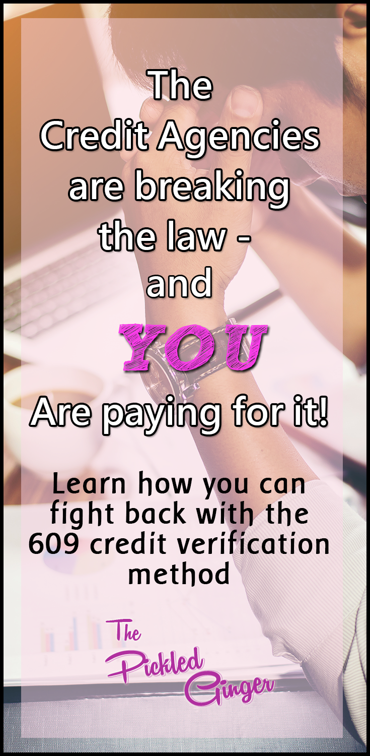 The credit agencies are breaking the law and YOU are paying for it! | The Pickled Ginger - Find out how you can fight back and raise your credit score more than 200 points!